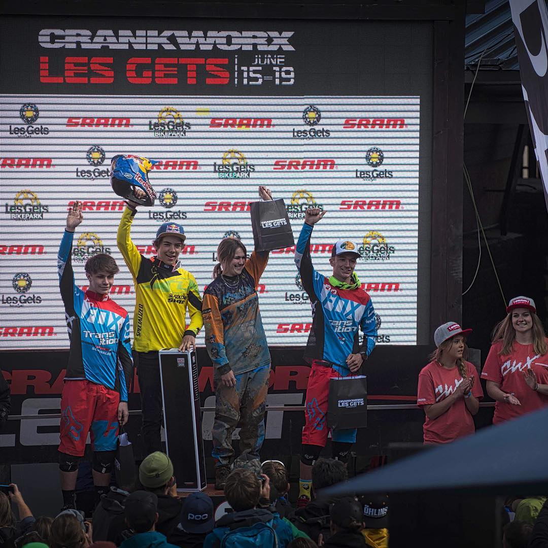 Yeah Finno !!! Junior ripper  @finniles  rode like a wild man to take the win at the #Crankworx #LesGets downhill today. The track looked wild and Finn kept it lit all the way in... Bad luck for Loris who slipped out in the tough conditions ruining his...