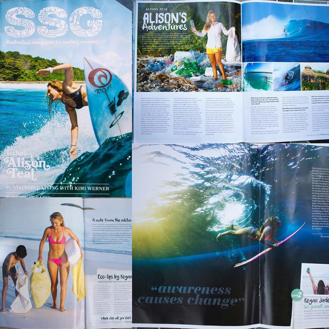 Honored to have a three page spread in the current issue of @sunshinesurfgirls all about how to follow your passion and positively change the world at the same time! Thank you @somewheresalty for sending me pics of the article - keep leading the way...