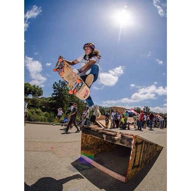 @carmen_sutra during #downhilldisco2014 last week in California #dykesondecks #bonelesslikeaboss #longboardgirlscrew