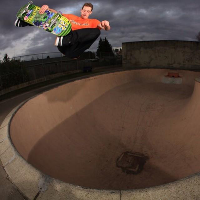 Bowled over in the backyard.  Willis Kimbel aka @wheelbarrow. #skate #skateboard