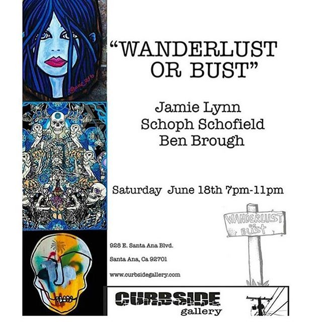 On the road to Wanderlust Or Bust with a car full of art and a half tank of gas! Come feast your eyes on the art of @_schoph_ , @jamiemlynn and @3en3rough. 5/18 at the @curbsidegallery. Word is there'll be a Spam dinner. #schophart #jamielynn...