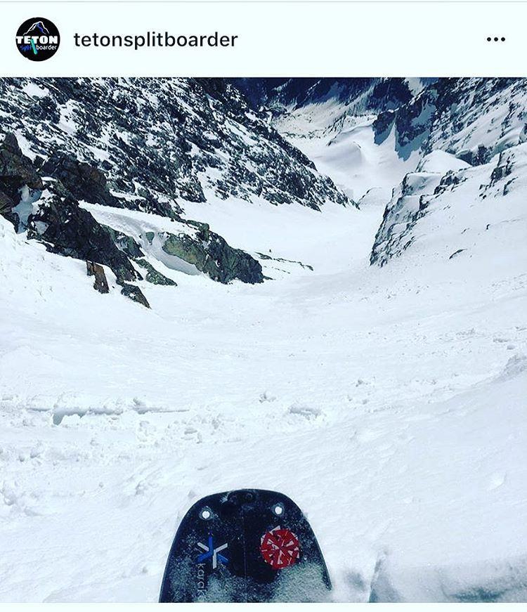 @tetonsplitboarder has been getting after it on the Tetons this spring. Here's a little #justthetip action from the top of Mt Moran last week. Looks epic! #avalon7 #liveactivated #snowboarding www.avalon7.co