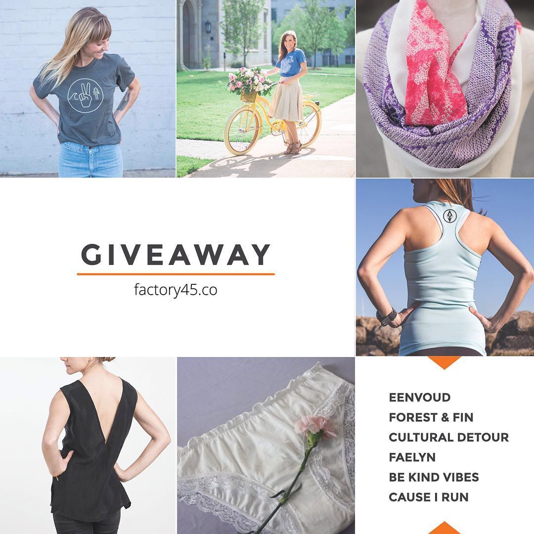 This week I'm part of the first ever @factory45co brand giveaway! We're teaming up to give away 6 items of womenswear that are all sustainably & ethically made in the USA... How to enter: 1. Follow us @bekindvibes and everyone in this loop. 2. Like...