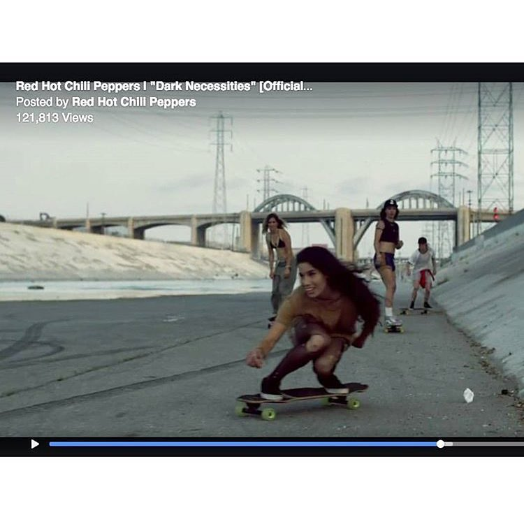 stoked to see our girl @carmen_sutra in the new Red Hot Chili Peppers music video, rocking Calibers!