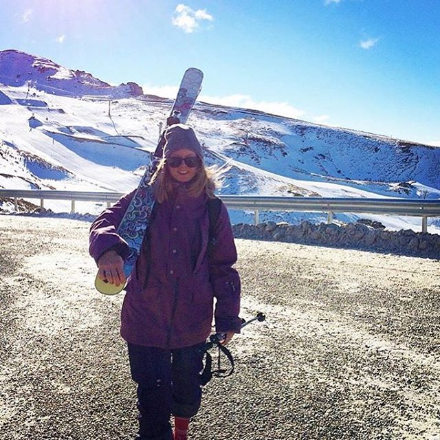 @britthawes_ hit opening day in style on the #bliss ski!  #sisterhoodofshred #openingday #skiing #fun #rad #mountains
