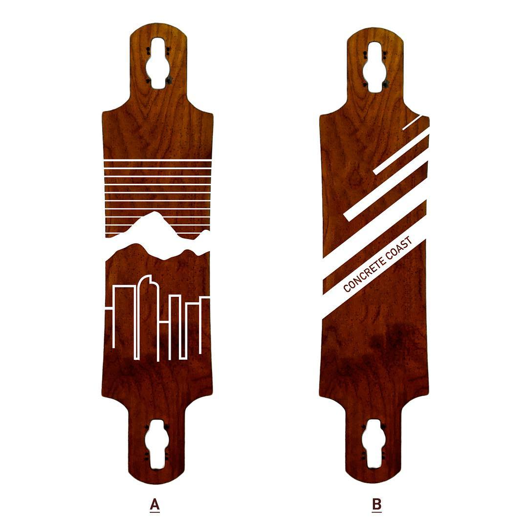 We are designing our first longboard!  Which one do you like best, A or B?