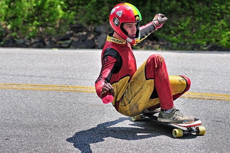 "Andrew Flanagan (@o_flanagan) on the Keystone 37"" at the Mahamapck 400! (Photo by Ross Earhart Photography / @mrossearhart) #dblongboards #longboard #dbkeystone #downhillskateboarding"