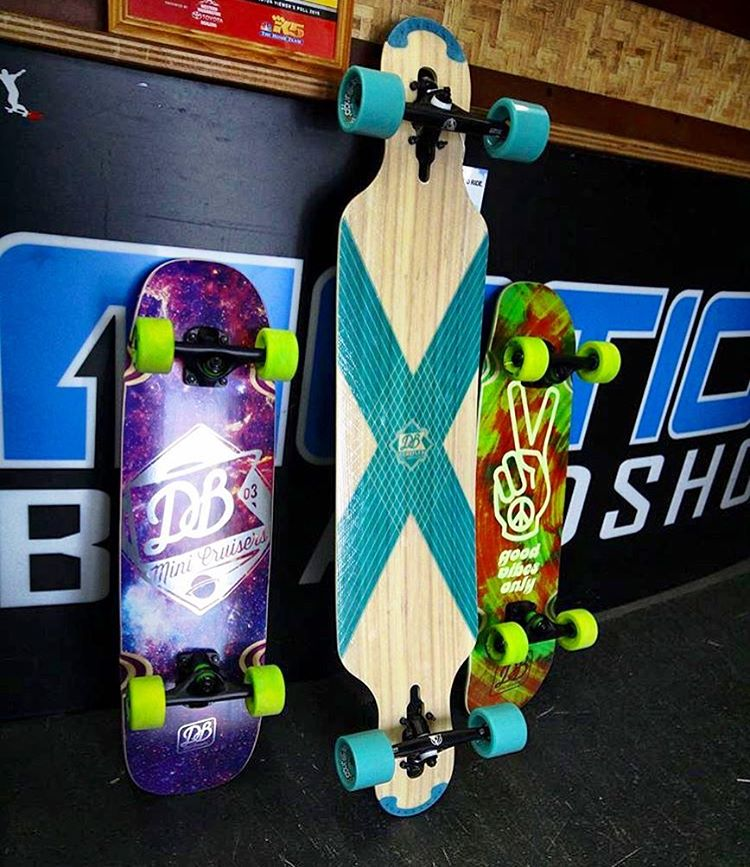 @motionboardshop showing off our CoreFlex Compound and Mini Cruisers. Swing through Motion and snag one for summer. #dblongboards #dbmini #longboard #seattle #skateseattle #motionboardshop