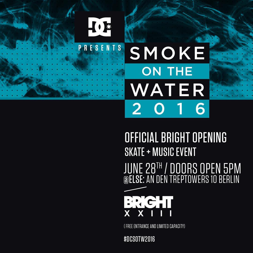 DC's Smoke on the Water, the offical @brighttradeshow opening party,  is next Tuesday, June 28th in Berlin, Germany.  Come out and see @mattmillerskate, @starheadbody, @madarsapse, @jaakkoojanen, and a performance by Berlin's finest, DJ Hype. Free...