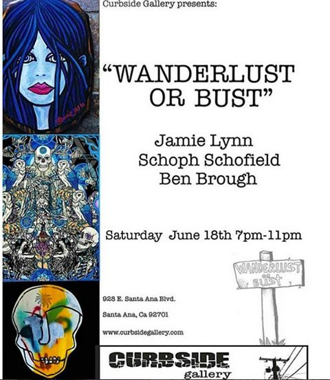 "If your in Santa Ana, CA tonight join @curbsidegallery for ""Wanderlust or Bust"" showing art from the insanely talented @jamielynnart, @_schoph_, and Ben Brough #wanderlust #curbside #gallery"