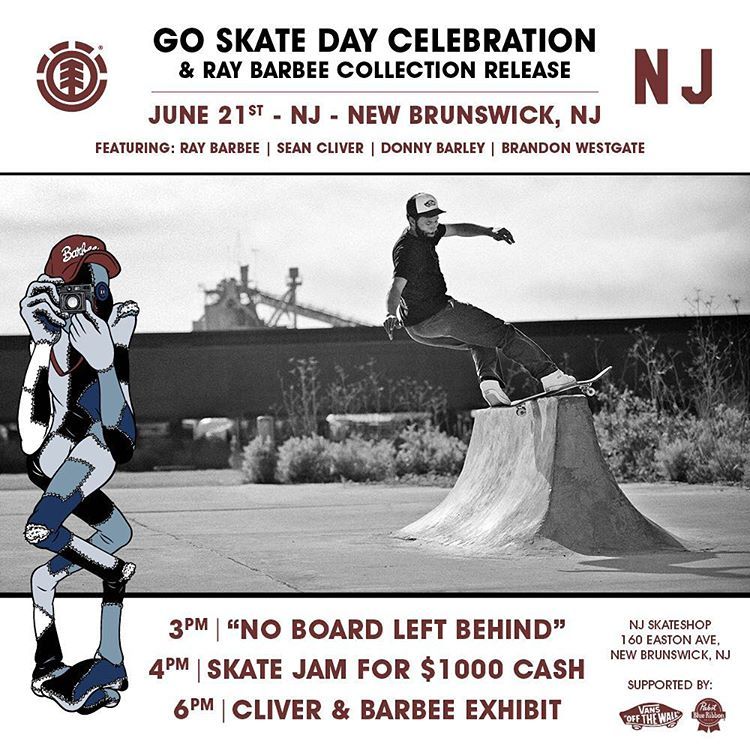 this @njskateshop x @r.barbee event is going to be epic! Join Ray, @seancliver @westgatebrandon and @donnybarley on #goskateboardingday June 21st for a skate jam with $1000 in cash up for grabs, a photo exhibit, #noboardleftbehind and free food &...