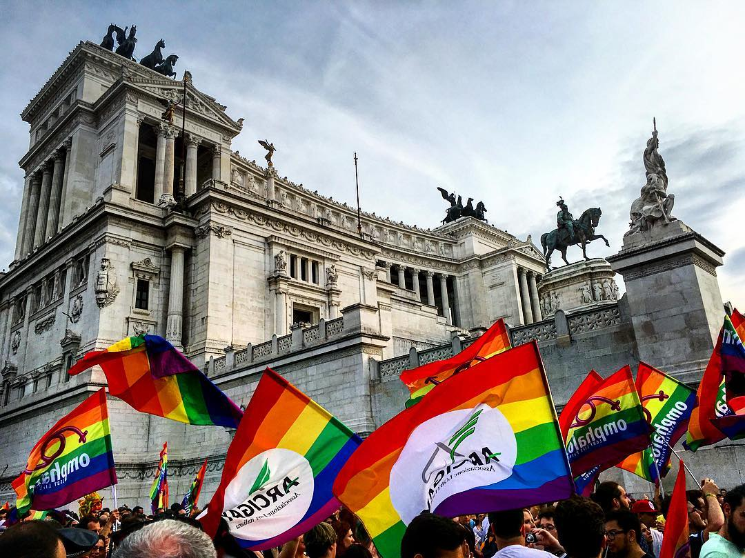 Went to Rome's #pride directly after going to the #vatican today. #oops