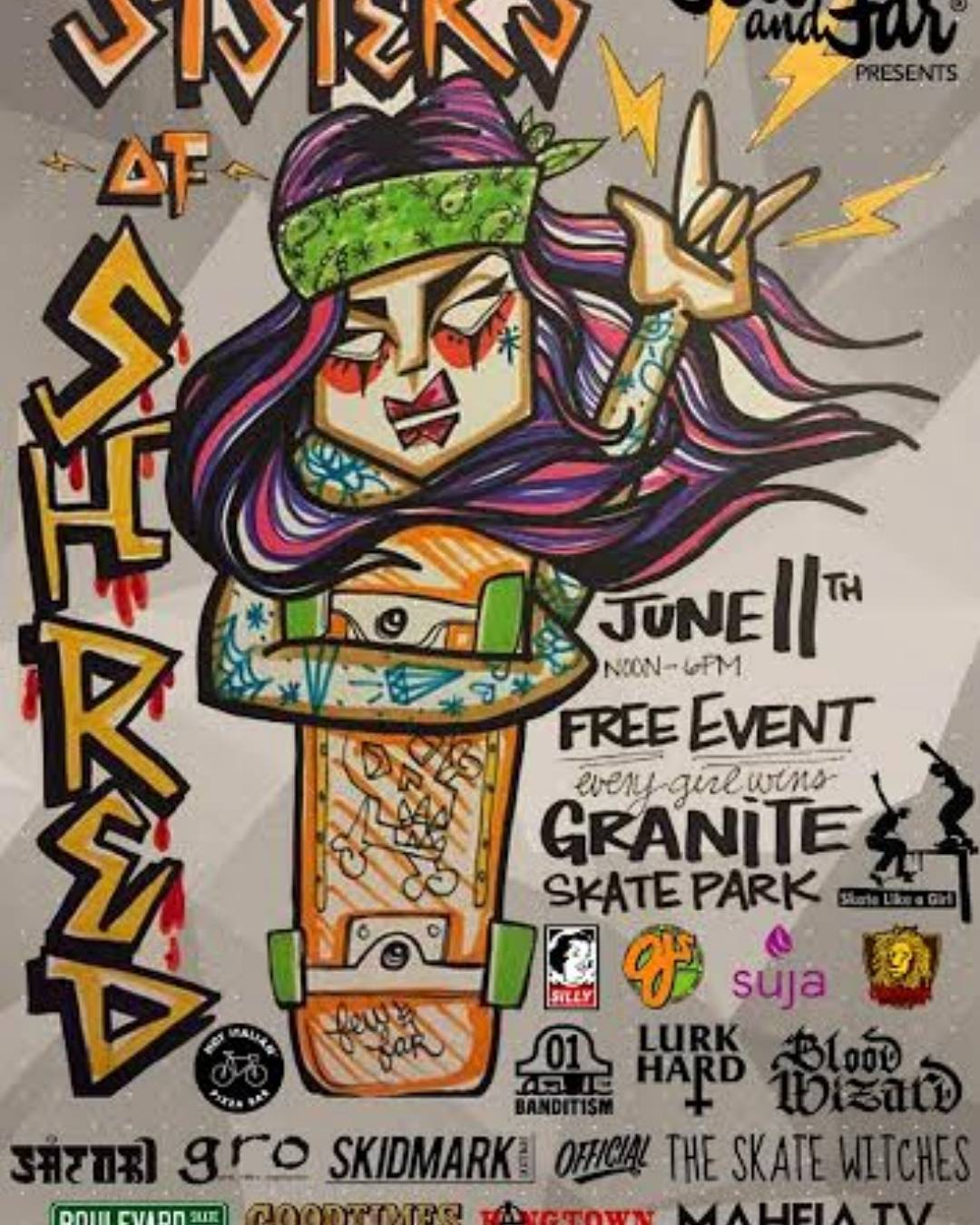 "All-Female Skateboard Jam, this Saturday- FREE!! Show up at Granite Skatepark or if you can't~ consider donating to the cause!  @Fewandfarwomen ""is an assemblage of women who beautify the streets"" !!"
