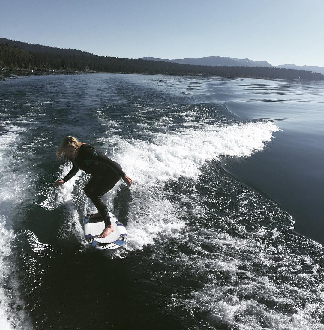 One of our first wake surf sessions on Lake Tahoe this summer.  Here is our old friend @aengerbretson enjoying the new fat sacks we picked up.  #embracethewave | #flylowgear