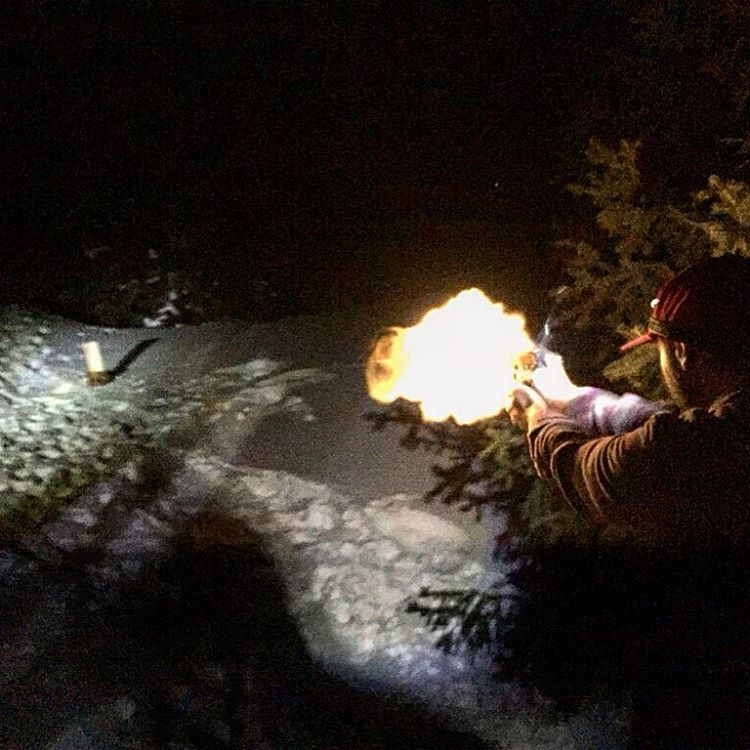 When your out #inthewoods for days on end #shooting at firewood becomes a legitimate way to pass the time. @mccabeski displaying the proper way to hold onto a #fireball #acp #bangbang