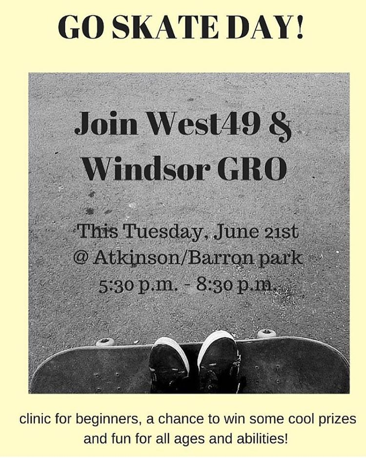 Happy go skate day! Windsor GRO will accompany @west49windsor so ladies you'd better come out to Atty/Barron park (university ave. west) for a good time!
