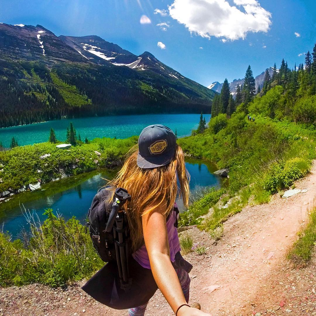 @fly_with_jenna hiking Glacier National Park. Shot with GoPro HERO4 and Reach Mini. #gopro #gopole #reachmini #hiking