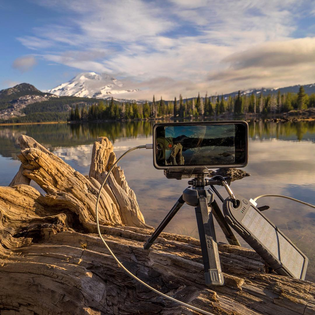 @mr0tt using Dualcharge to keep his iPhone6 charged up, and Base to keep his footage steady while shooting this scenic time-lapse at Sparks Lake, Oregon. #gopole #gopolebase #dualcharge #timelapse #sparkslake