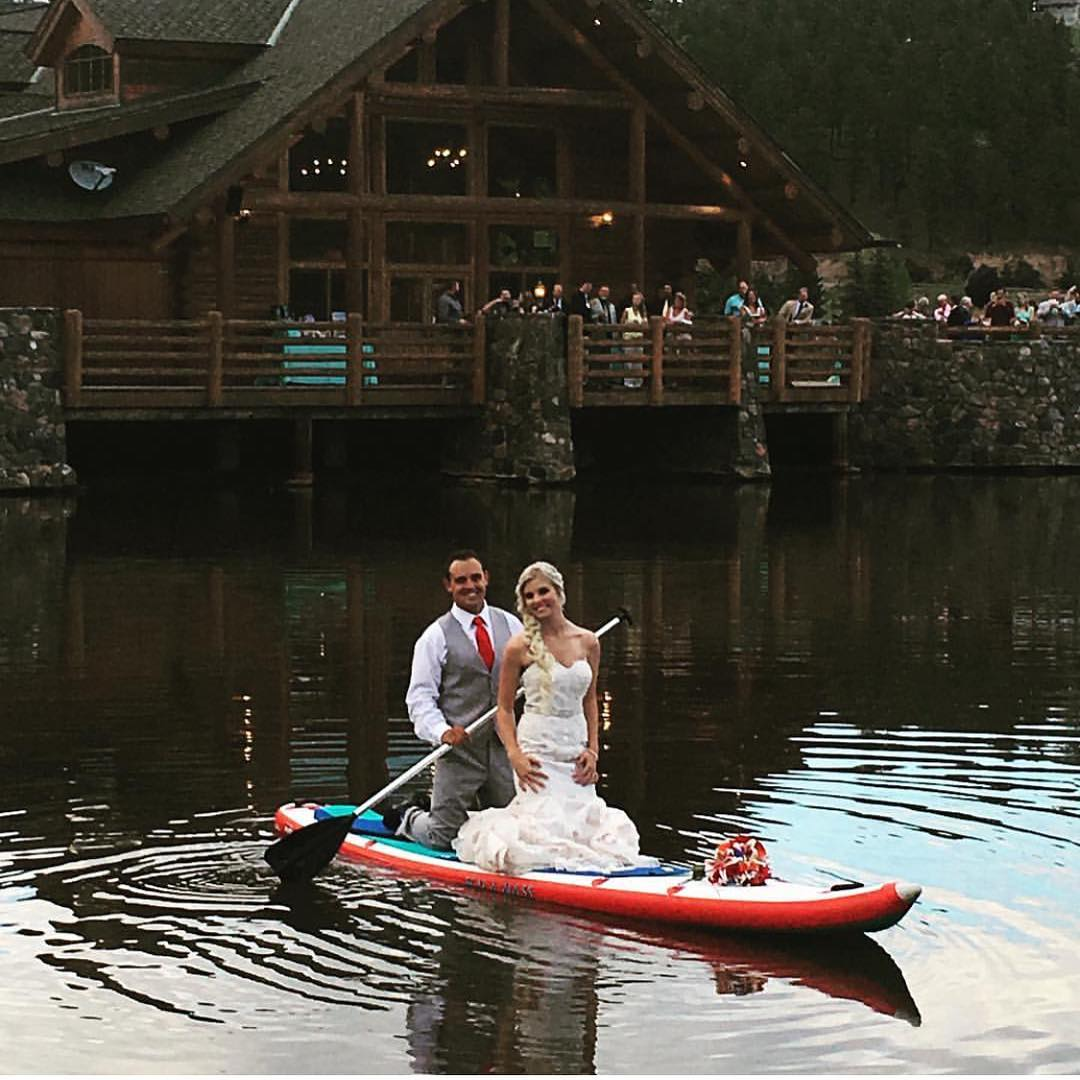 Bride and groom on their first sunset paddle together!