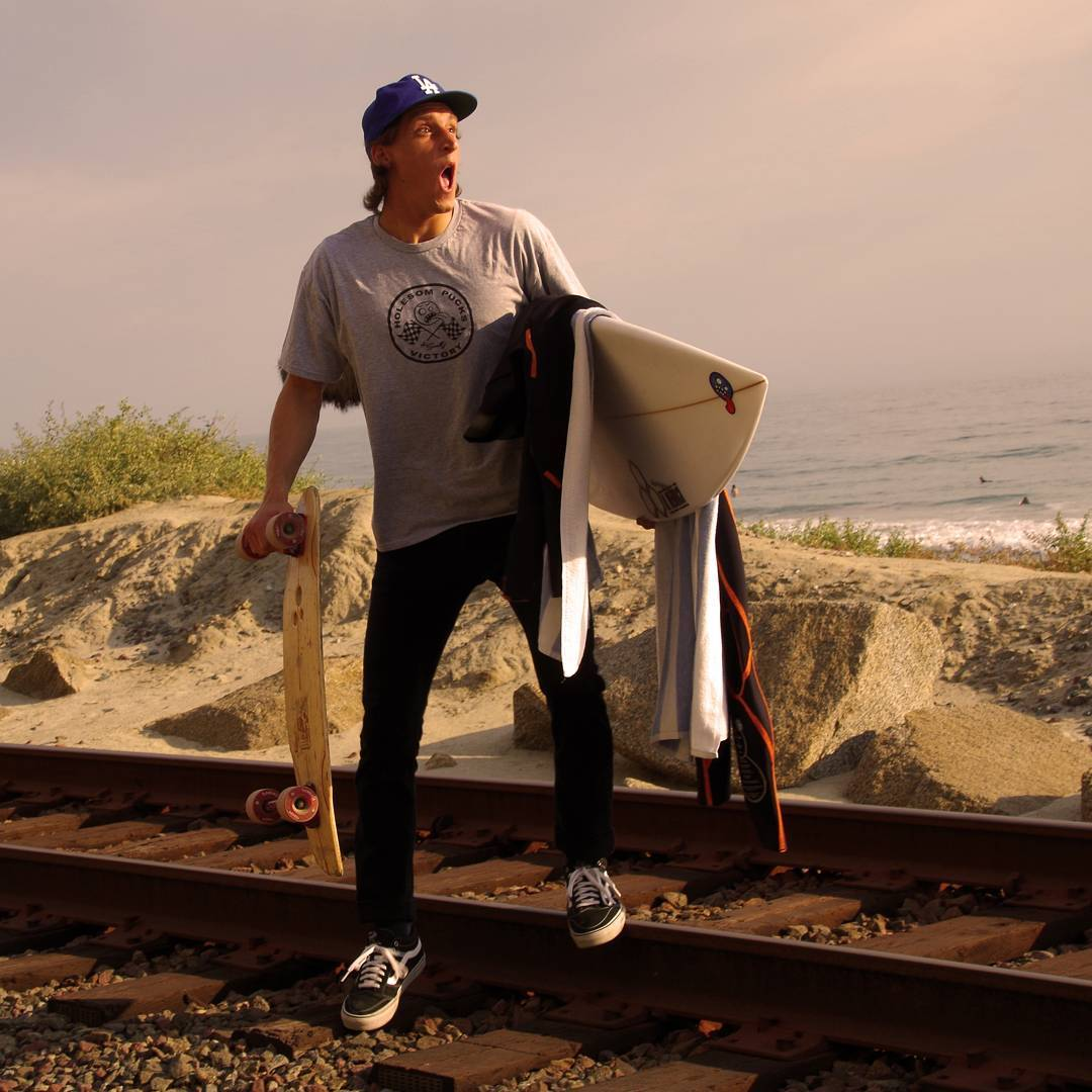 Contest: best caption wins a set of pucks. @tuckercorbin surfed and skated and about to ride a freight train -- skate god is a jealous god especially on international go skate day -- who needs some pucks, comment away