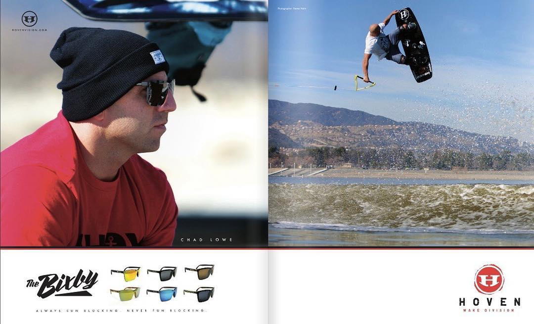 @chad_lowe in @unleashedwakemag.  Chad is in the new Bixby's.  #hovenvision #alwayssunblockingneverfunblocking #wakeboarding #california #unleashedwakemag