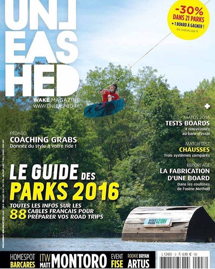 @mattmontoro.new on the cover of @unleashedwakemagfrance riding the Oracle at @wakeparkizon!