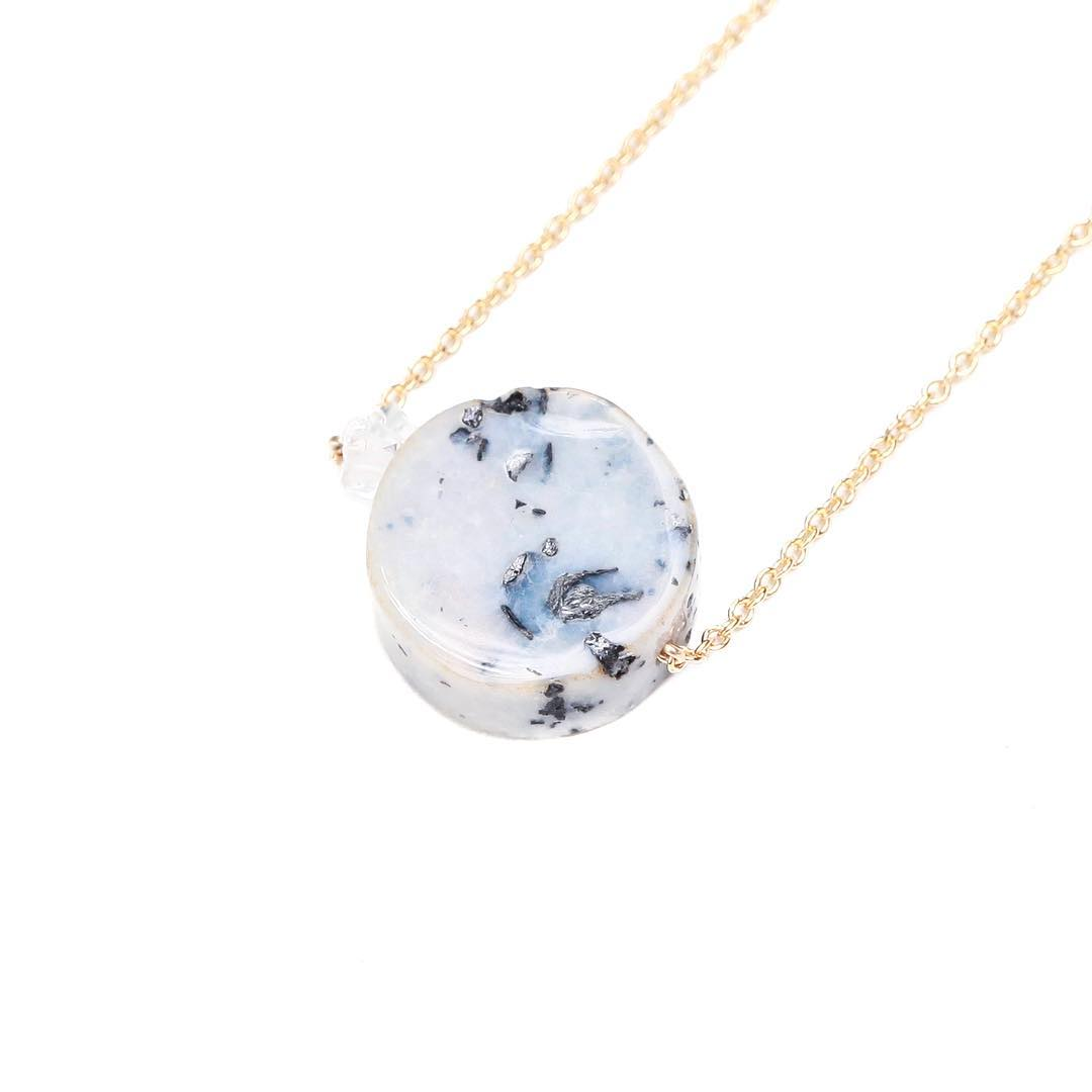 Dendritic Opals with Herkimer Diamonds. Proud Necklace.  Demands life force, strong will and empowers your instinctual patterns.  #Opal #opals #dendriticopal #blueopal #proud #crystalgypsy #crystals #healingcrystals #juliaszendrei