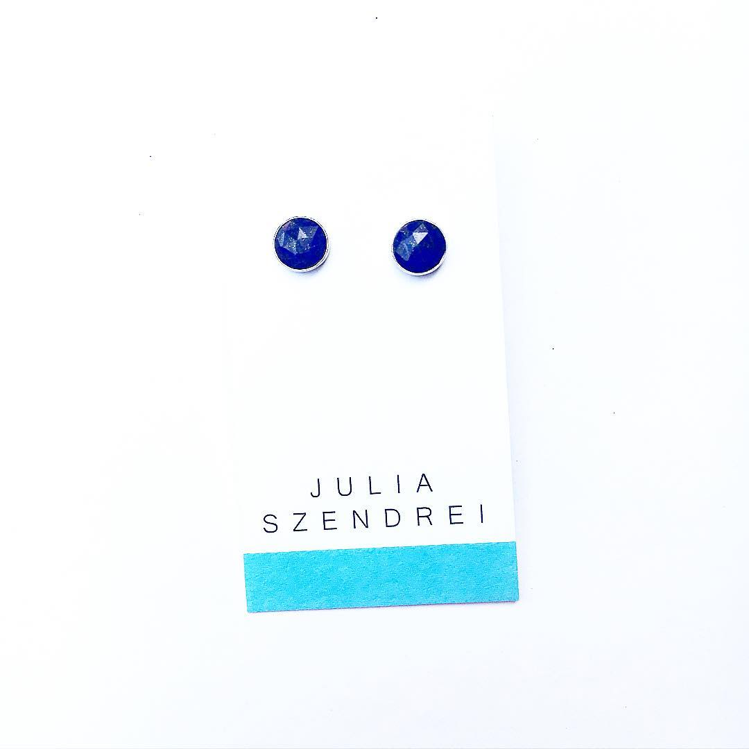Lapis Gemstone Studs. Set in Sterling Silver. A classic everyday pop of navy. (These are my go-too every day earrings) . . #ootd #glam #style #fashion #earrings #gemstone #studs #juliaszendrei #stylewatch #fw17 #pop #colorpop #shoplocal #marin...