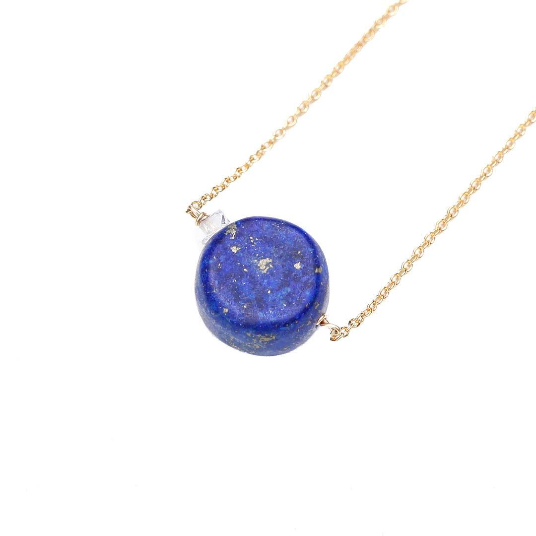 Proud Lapis & Herkimer Diamond Necklace.  #lapis #Herkimer #crystalgypsy #crystals #crystalhealing #juliaszendrei
