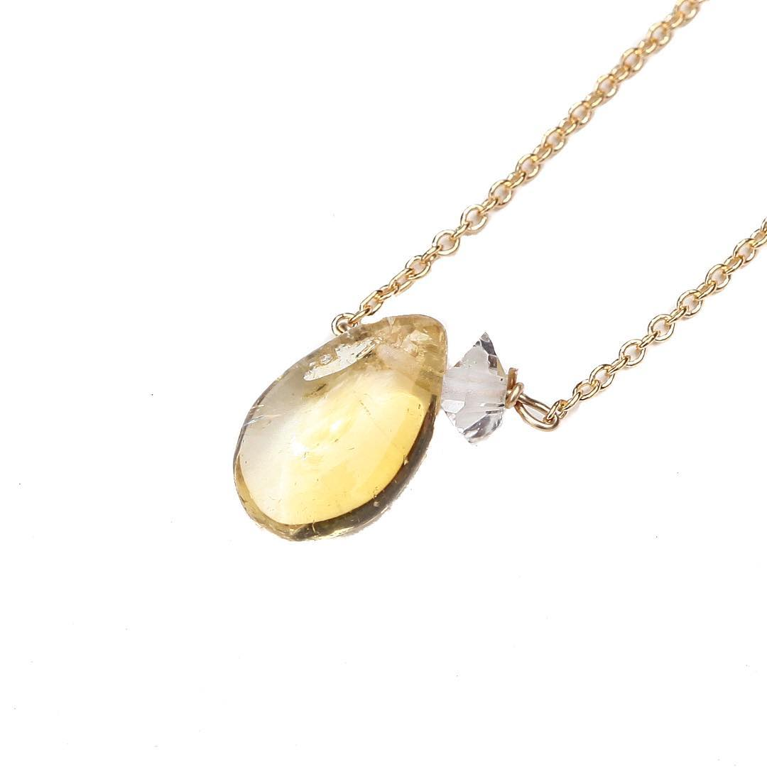 Citrine Proud Necklace Satellite style Herkimer Diamond to pair. Citrine is one of the best stones, in my personal opinion. It's a color I would NEVER wear and when I do wear it I simply remind myself that it's a symbol of joy, happiness and its...