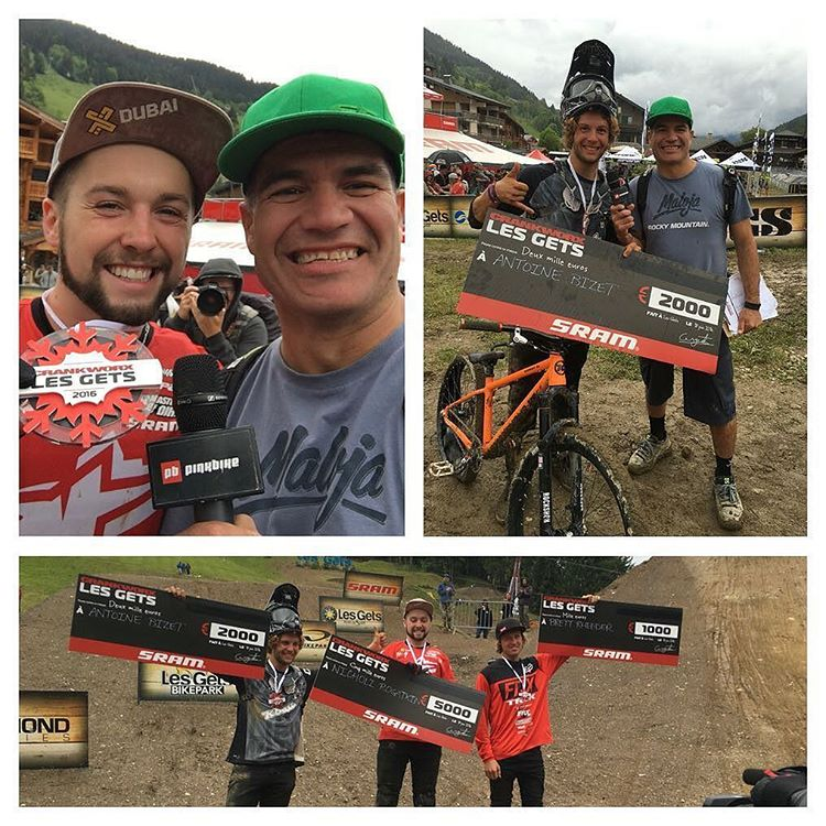 Talk about making the best of a rainy day! @nicholirogatkin seized 1st place at @crankworx Les Gets Best Trick with his signature Twister. @antoinebizet came in 2nd with an impressive opposite cash roll