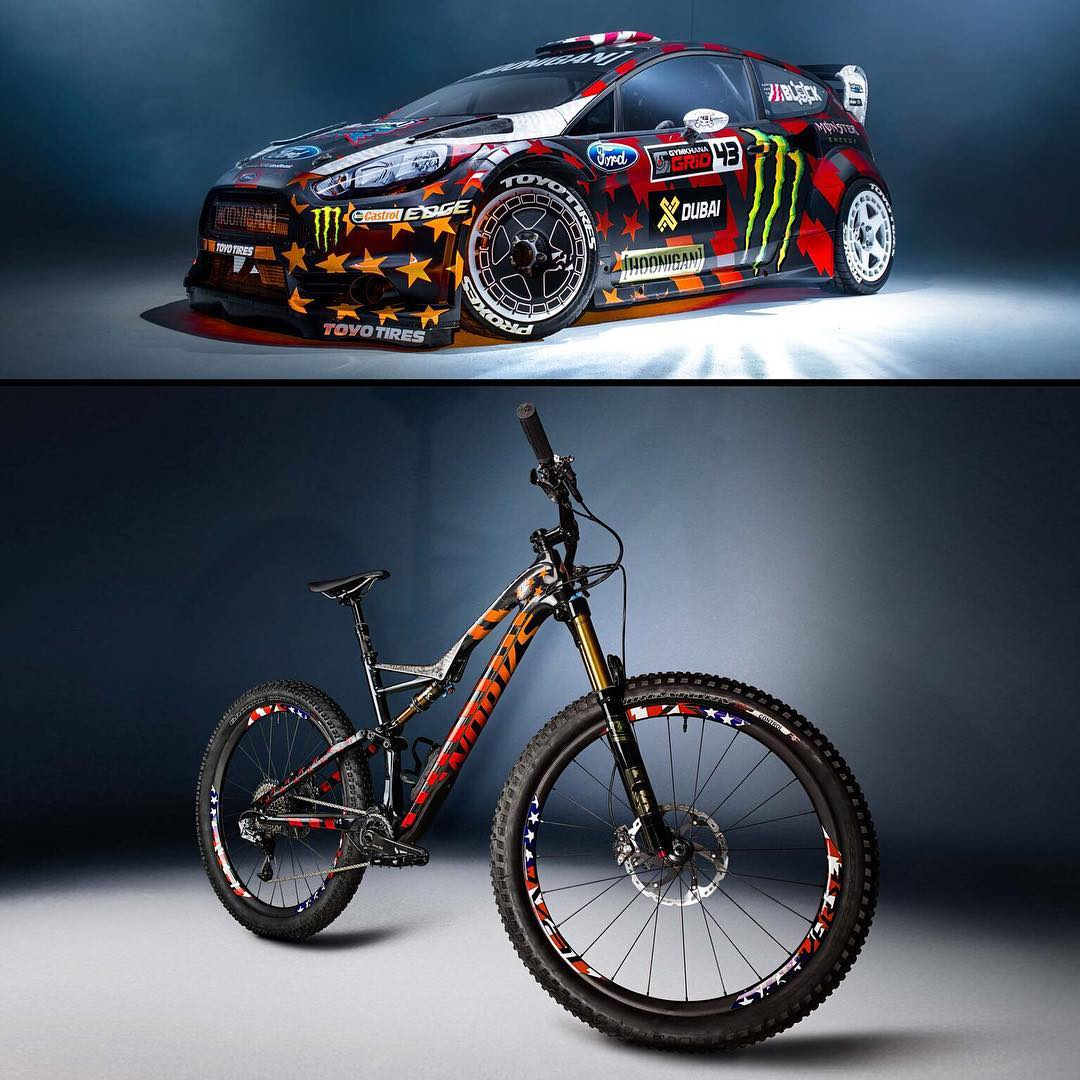 @iamspecialized really nailed the tribute paint on this S-Works Stumpjumper FSR 6Fattie! Check out how it lights up exactly like the livery on my Gymkhana EIGHT Ford Fiesta RX43! Absolutely incredible work. A BIG thanks to everyone at Specialized that...