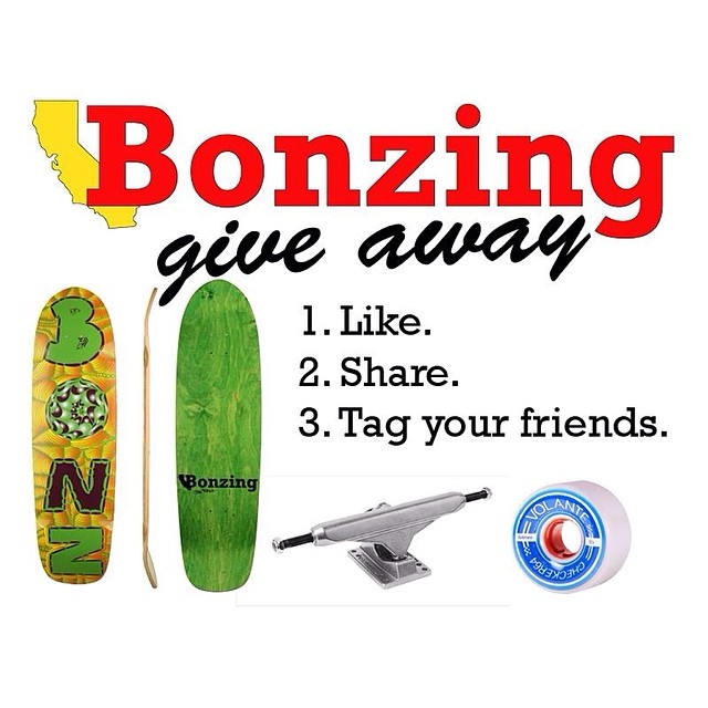 Join us in Facebook for a Da Kine complete give away.  The link to the contest is in our profile.  For a chance to win, all you have to do is like and share this photo and tag as many friends as possible.  #bonzing #giveaway #da_kine_skateboard...