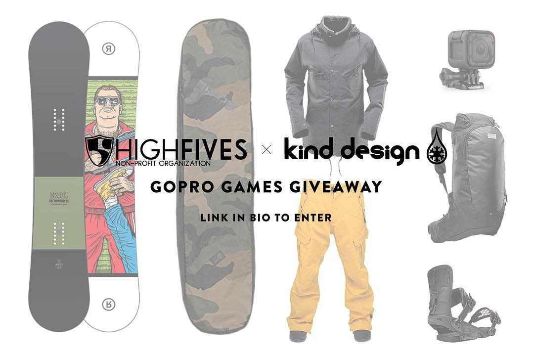 GoPro Mountain Games GIVEAWAY! High Fives Foundation & Kind Design have put together a snowboard & GoPro giveaway valued over $1800. Click the link in our bio to enter. Come visit us if you are in Vail, we are set up on the Tivoli walkway near Golden...