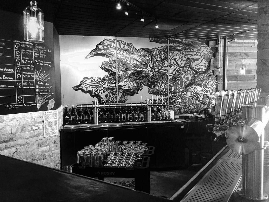 WOW.  Our art installation at the new @vailbrewingco in Vail Village is beautiful!  Swing by for the best beers and atmosphere in Colorado. Thanks for the great install @frontiergi :). #kinddesign #vail #colorado #co #vailbrewingco #topo #topography...