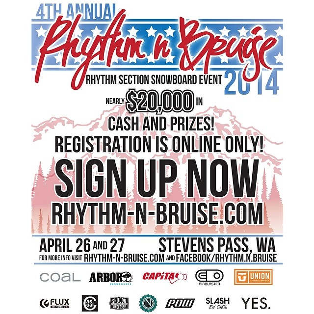 $20k in cash and prizes... Need we say more? See you this weekend at #rhythmandbruise @stevenspass for some epic spring conditions!