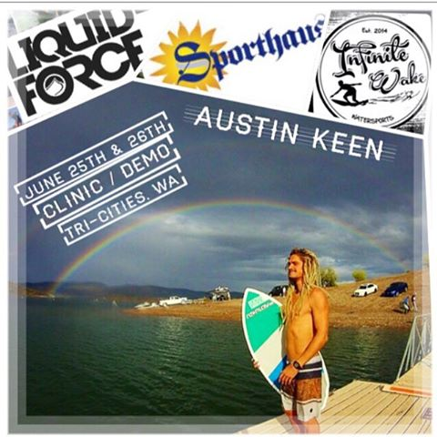 Ride with @austinkeen47 in Tri-Cities, WA (Columbia River) June 25th & 26th!  Two sessions each day:  8am to Noon and 1pm – 4pm  Call (509) 205-8337 to sign-up! @sporthausnw @infinite_wake