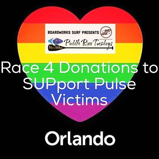 If you are in Orlando and want to help please join @waveofwellness and @boardworkssurfsup Paddle Race Tuesday event for the benefit of the victims on Orlando. #prayfororlando #community  #acceptance #orlando #family #waveofwellness #love