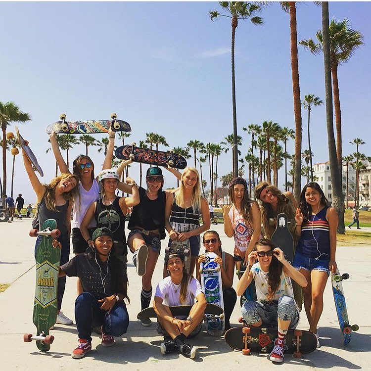 The girls in Venice Beach during LA's #GoSkateboardingDay! Photo by @girlisnota4letterword. Go to their site to see the full event recap & snaps. Girl stoke!  #girlisnota4letterword #longboardgirlscrew #womensupportingwomen #skatelikeagirl #venicebeach...