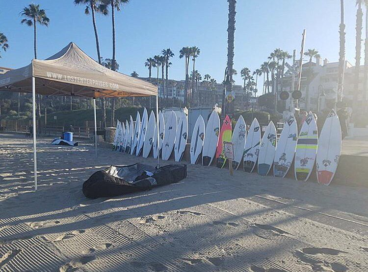 @lostsurfboards demo and beach cleanup today at San Clemente Pier. Come down and pick up a little trash and test drive a board.