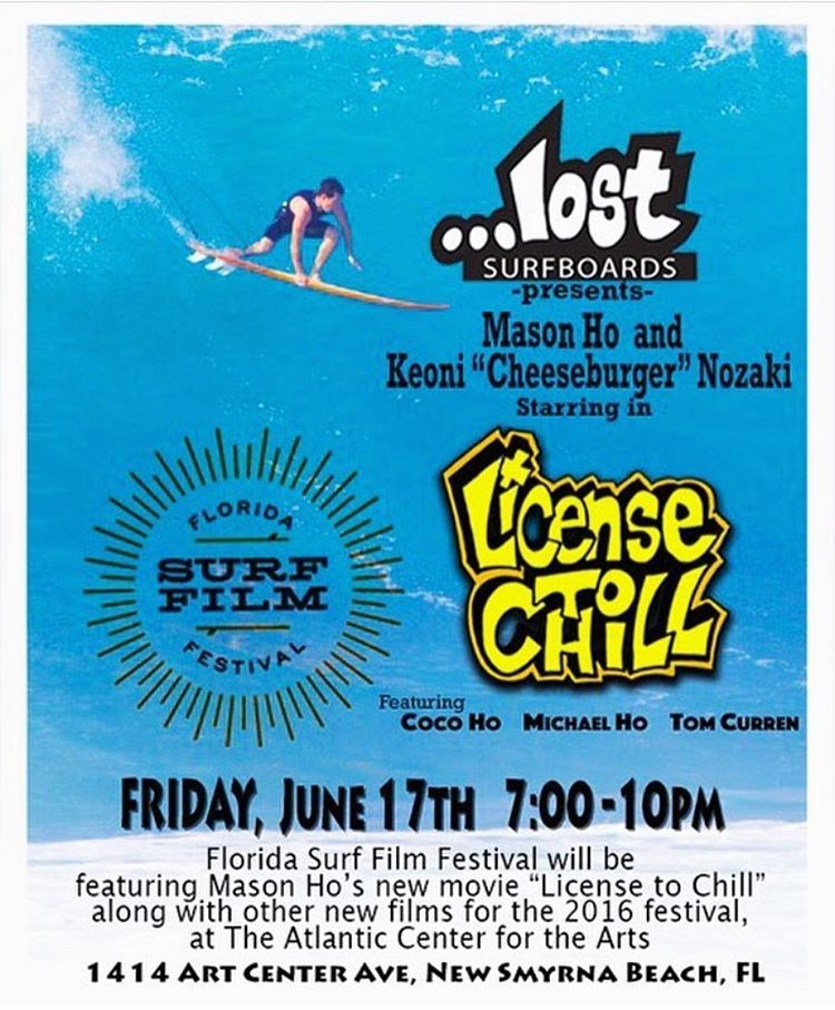 Tomorrow night the @flsurffilmfest will be featuring #LicenseToChill at the Atlantic Center of Arts in New Smyrna Beach, FL. Come watch some of the un-released footage plus a Q&A with co-creator @joealani