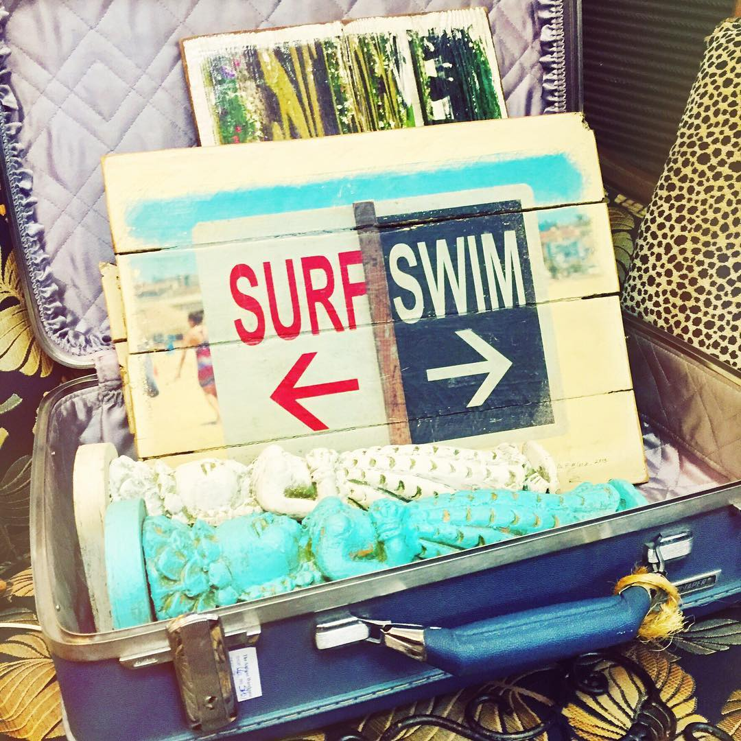 Hmmmm....⬅️surf or swim➡️??? Surf Duh! #luvsurf #swim #oldsigns #sandiego