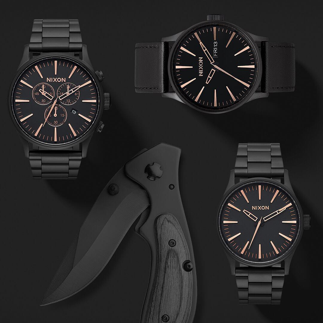 Raise the bar on dad's day with the timeless #Sentry, now in all-black and rose gold. Good for business, pleasure, and everywhere in between. There's still time to order at Nixon.com. Order by 12pm PST and choose next day shipping for guaranteed...
