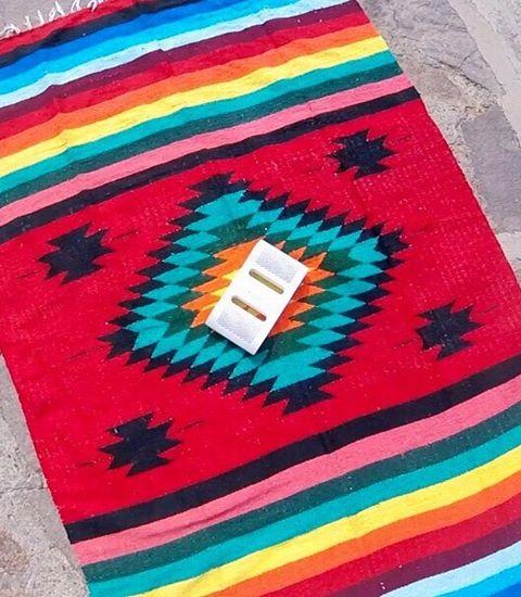 Taste the rainbow.  Hold on, we mean #LifeSoundsGood #NYNEaqua #bluetoothspeaker #mexicanblanket #rainbow #tastetherainbow