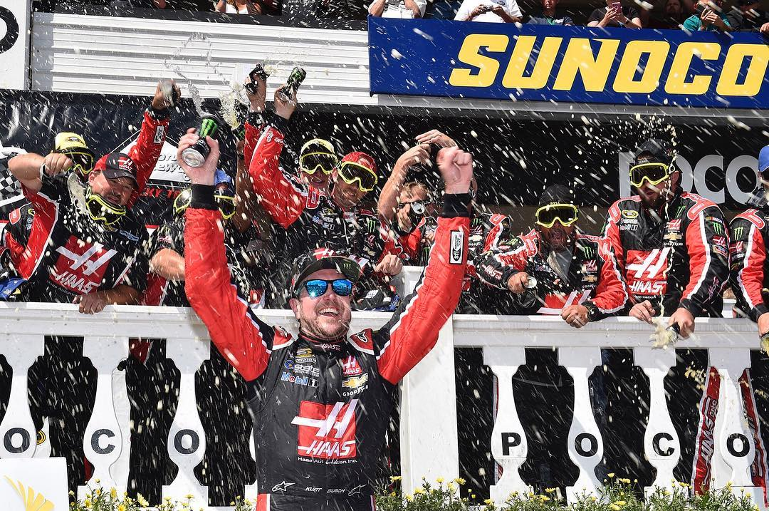 Celebrate in style.  Congrats to @kurtbusch and team for their first win of the season and a spot in the chase for the @nascar Sprint Cup.