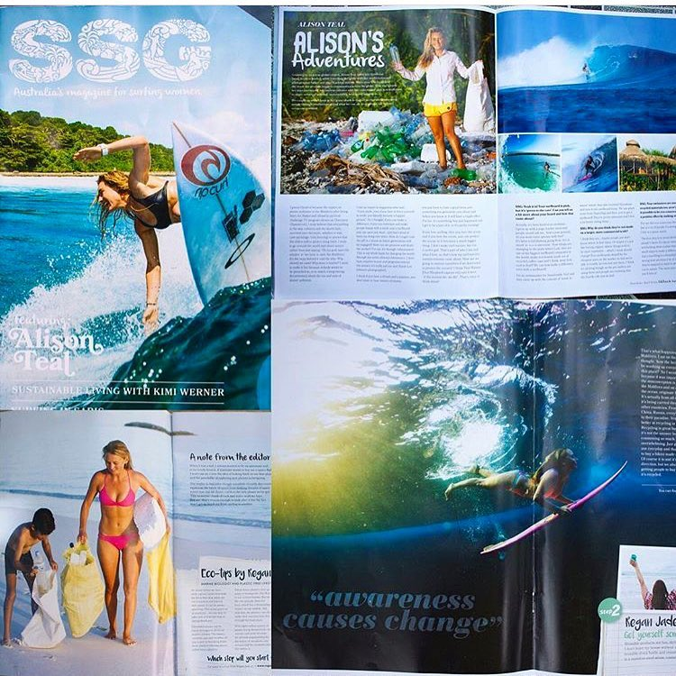 @alisonsadventures being featured in @sunshinesurfgirls magazine!! Stoked!! Shop her adventure collection!