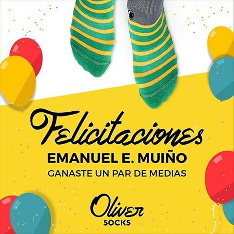 ¡Felicitaciones a @sup3rsoniqo Emanuel E. Muiño, el ganador de nuestro sorteo por un par de medias #OliverSocks!  Muchas gracias a todos por participar y sigan atentos que se vienen más descuentos, promociones y sorteos en estos días. . . #Oliver...
