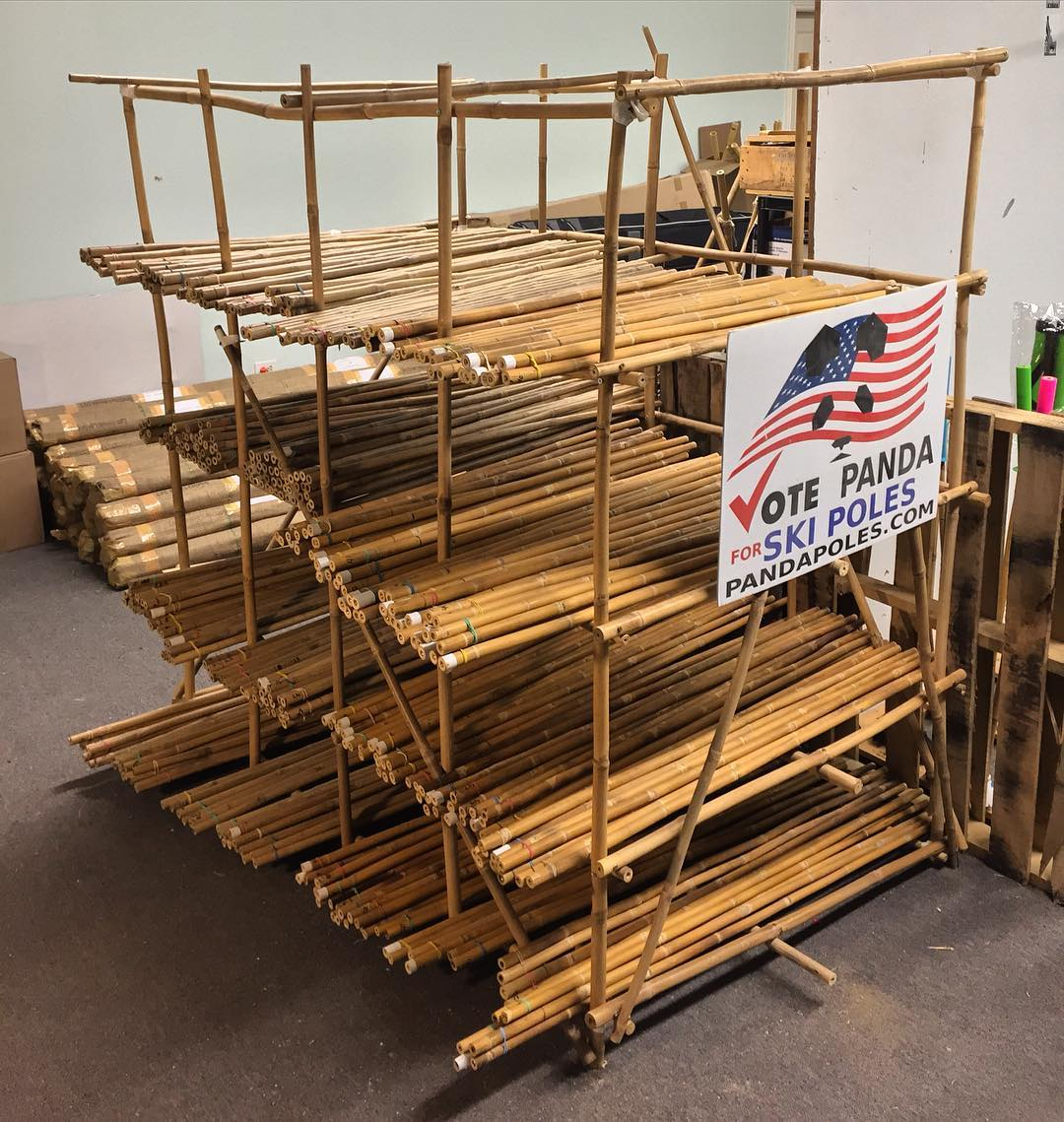 Panda Chief TanSnowMan has been busy prepping bamboo for next season, and after finishing 250 pair, he decided he needed a place to store the prepped wands. Well, that's one way to utilize bamboo discards... #TribeUP bamboo rack!  #PandaPoles...