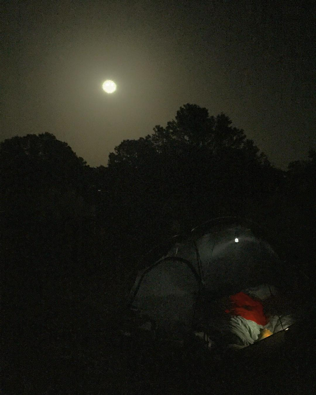 A grand end to a grand trip. Had to leave the fly off to enjoy the Summer Solstice warm air and the view of the Strawberry Full Moon over our tent. #roadtrip #roadtrippinwithrachel #camping #summer #summersolstice #strawberrymoon