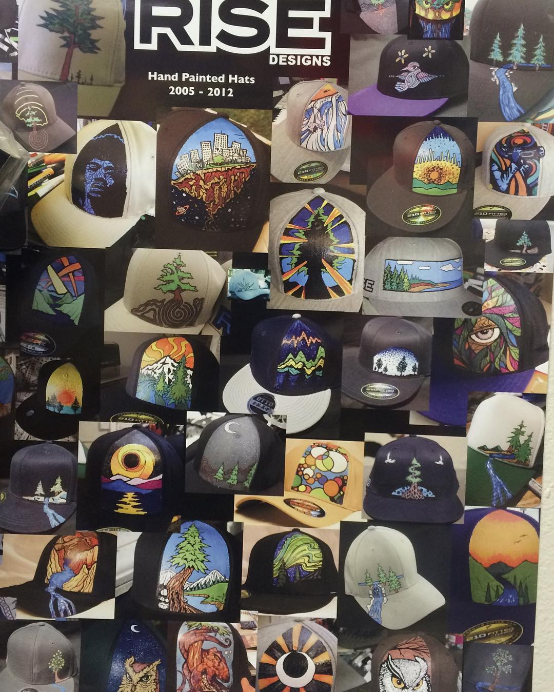 A poster of our hats we used to paint by hand one at a time. A little throwback, come take a look in our shop. #risedesigns #risedesignstahoe #riseshop #hats #poster #inspiredbynature